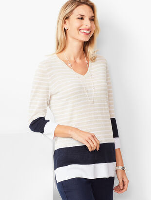 Blocked-Stripe Linen Sweater