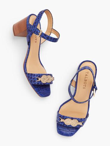 Sera Knot Croc-Embossed Sandals