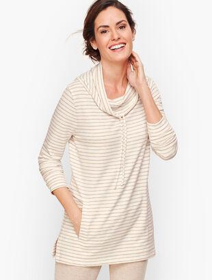 Stripe Cowlneck Pullover