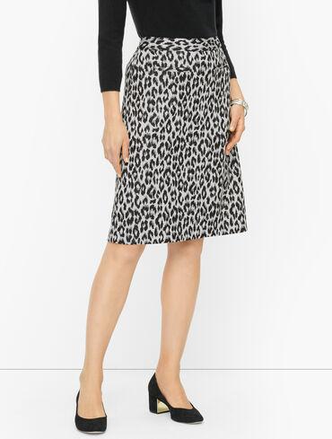 Ponte A-Line Skirt - Winter Leopard
