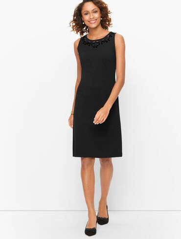 Bow Embroidered Ponte Knit A-Line Dress