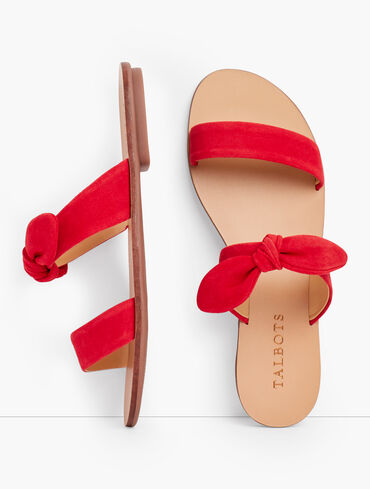Hannah Knotted Slides - Suede