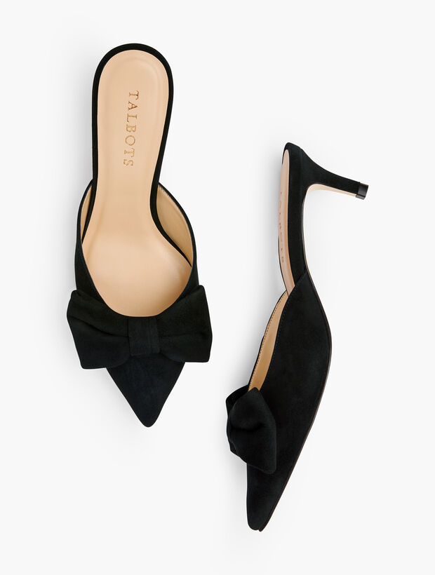 Erica Bow Mules - Suede