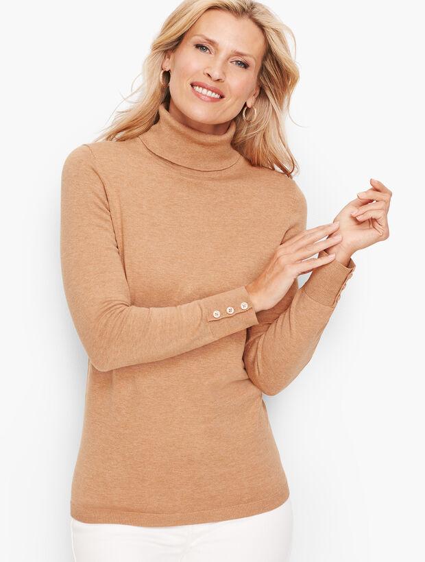 Button Cuff Turtleneck Sweater