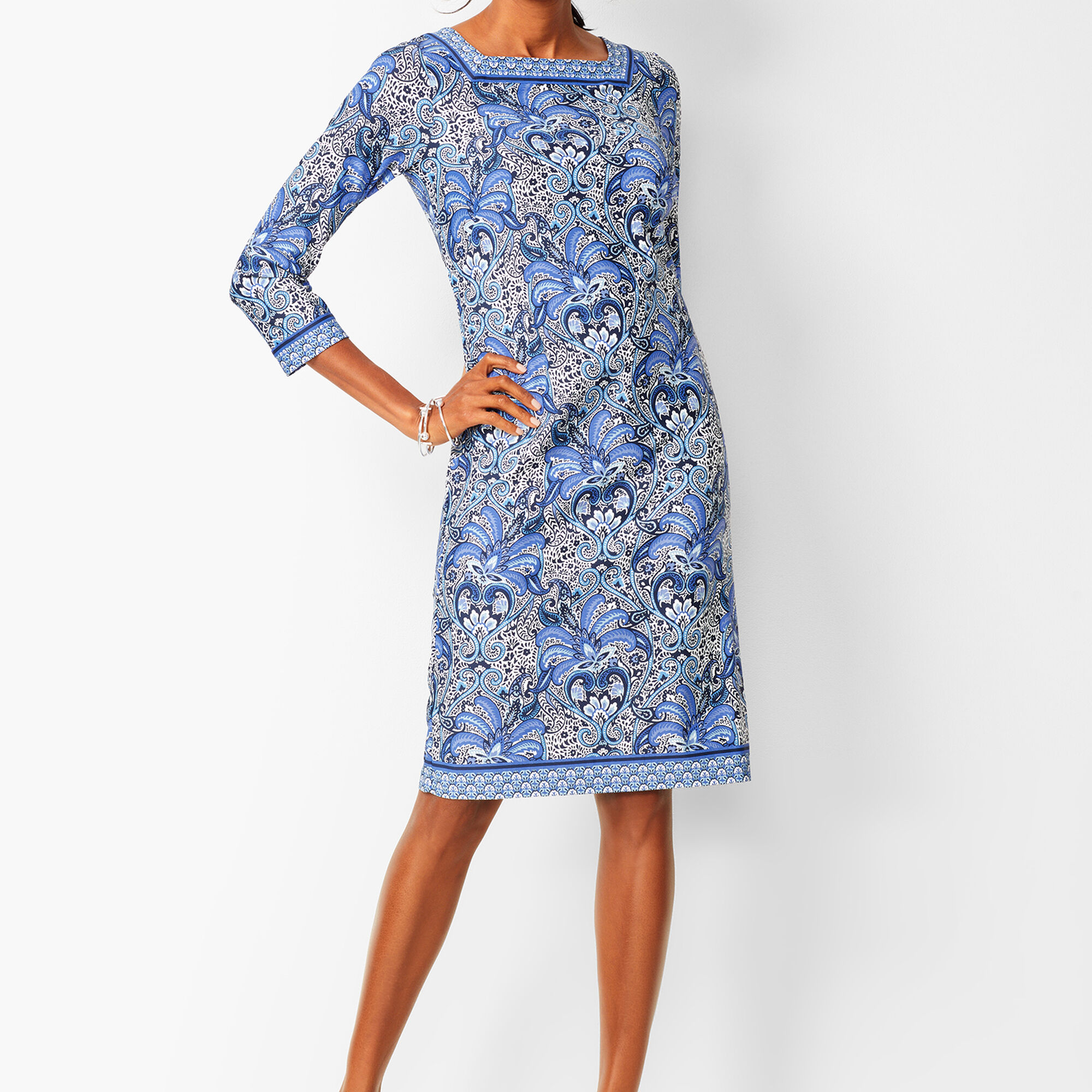b39362634db15 Paisley Knit Jersey Shift Dress