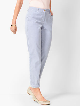 Girlfriend Chinos - Rolled Cuff Chambray - Stripe