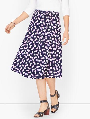 Wraparound Side Button Midi Skirt - Leaf Print
