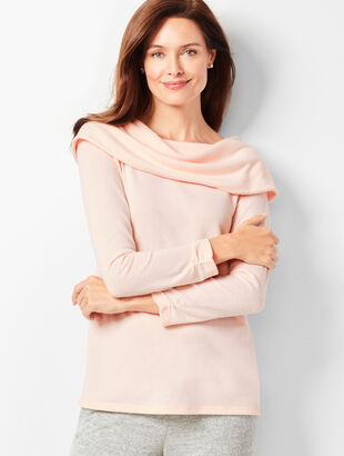 Brushed Mélange Off-The-Shoulder Top