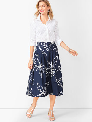Floral Pleated Full Skirt