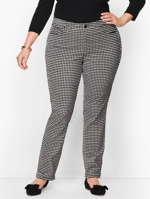 Velveteen Straight Leg Pants - Gingham