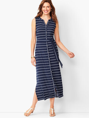 Button-Front Stripe Jersey Maxi Dress