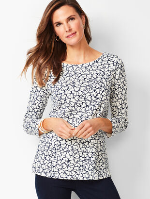 Cotton Bateau-Neck Tee - Whimsy Hearts