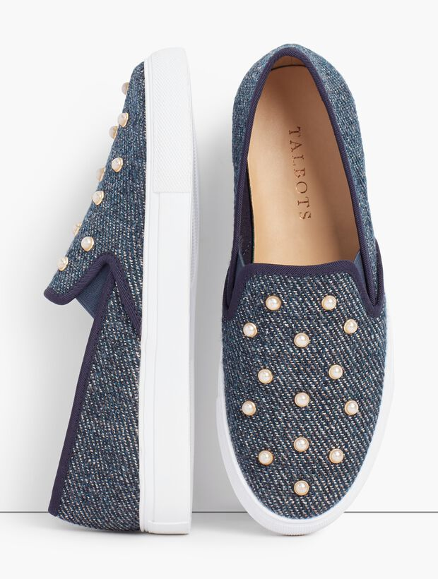 Pearl Embellished Denim Sneakers