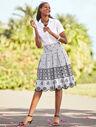 Eyelet Pleated Stripe Skirt