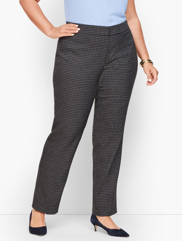 Plus Size Stretch Houndstooth Tweed Straight Leg Pants