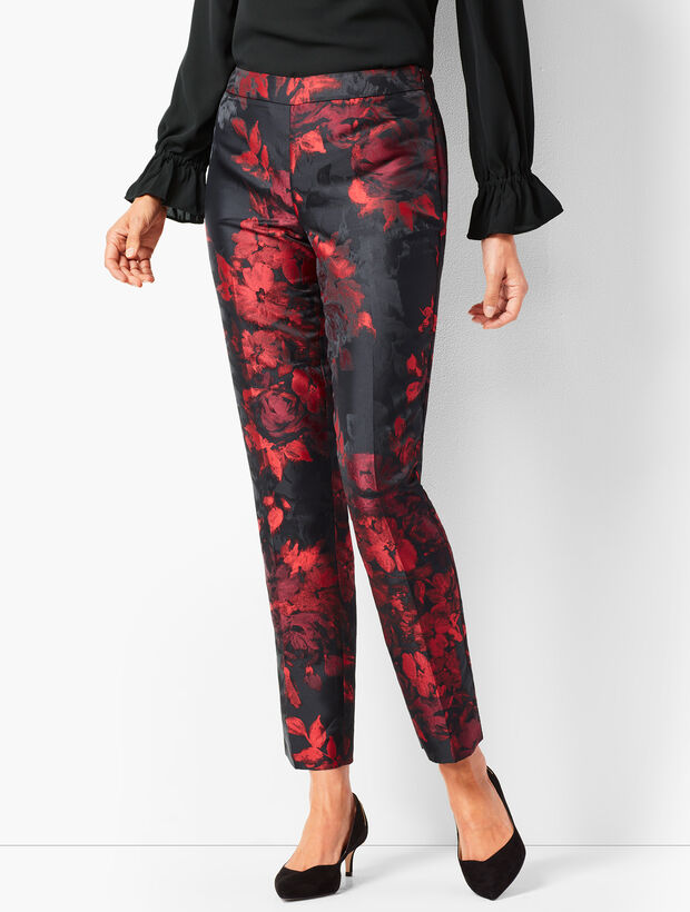 Painted Floral Talbots Chatham Ankle Pants