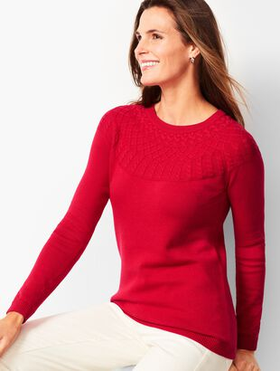 Cable-Yoke Cotton-Blend Sweater