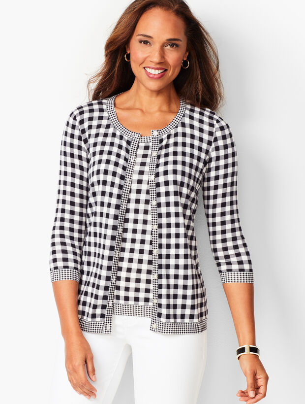 Charming Cardigan - Three-Quarter Sleeve - Mixed Gingham