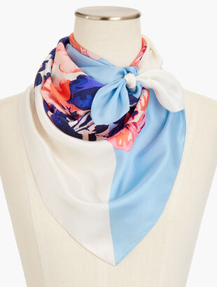 Painted Floral Silk Scarf