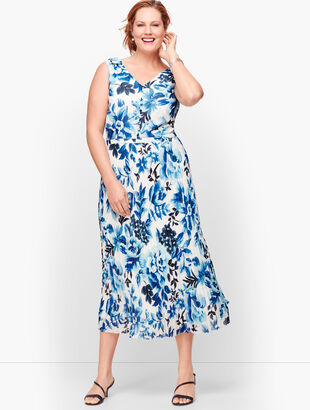 Watercolor Blooms Pleated Fit & Flare Dress