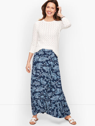 Cascading Knit Wrap Skirt