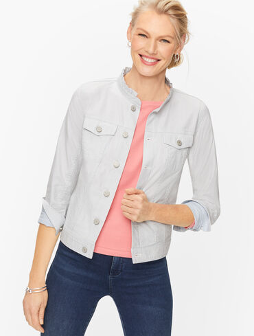 Feminine Collar Jean Jacket - Stripe