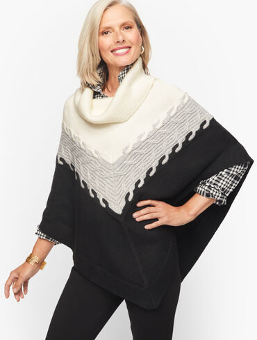 Colorblock Cable Knit Poncho