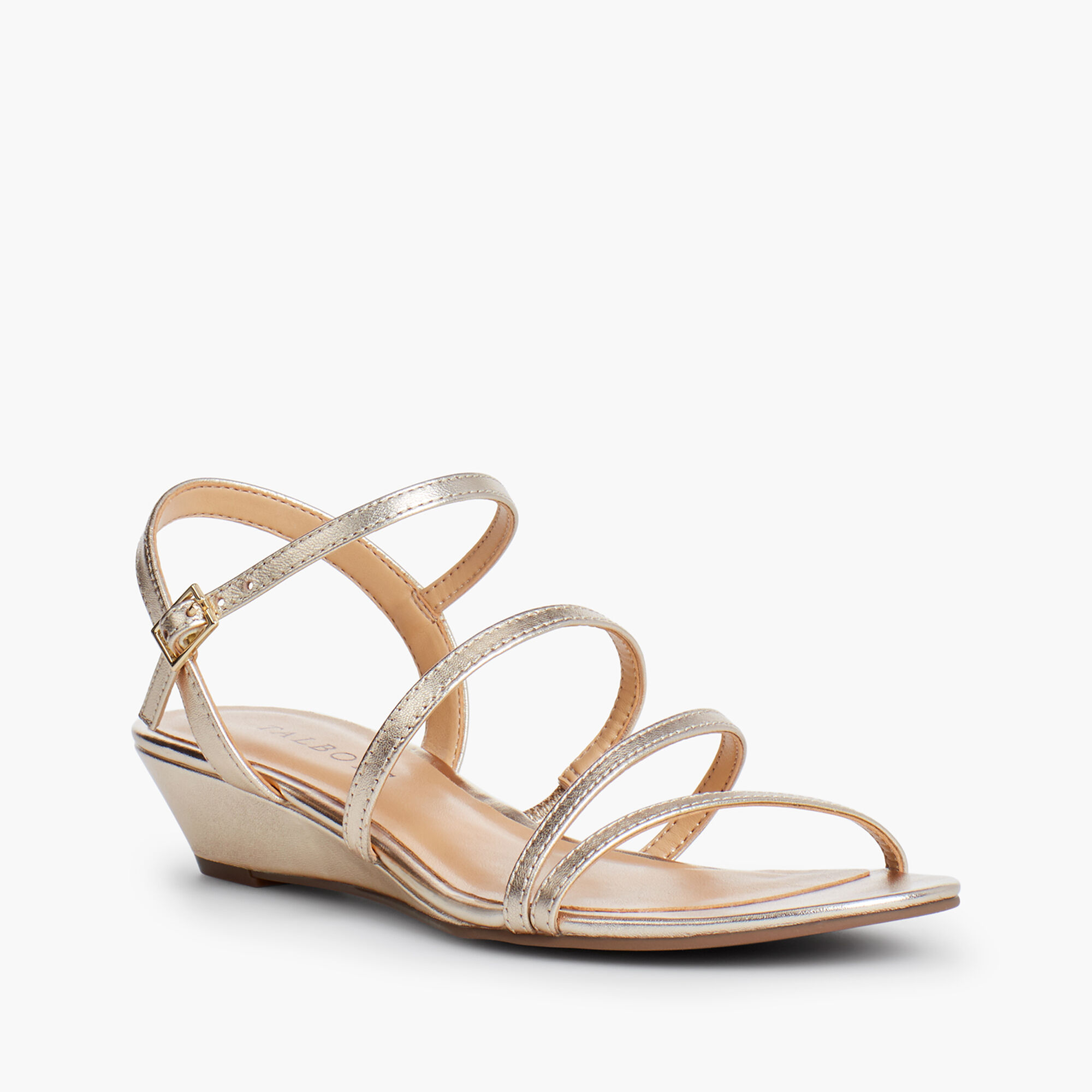 ad49603deac Capri Multi-Strap Mini-Wedge Sandals - Metallic Opens a New Window.