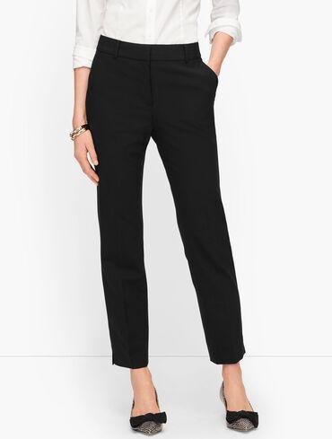 Luxe Wool Slim Ankle Pants - Black