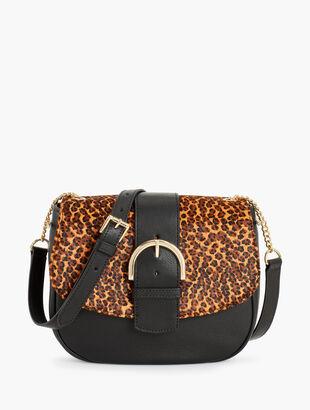 Pebbled Leather & Calf Hair Shoulder Bag