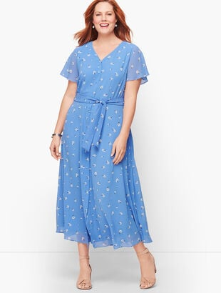 Scattered Floral Tie Front Midi Dress
