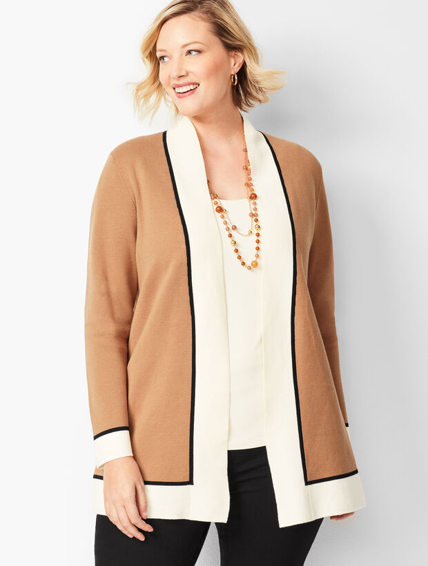 Plus Size Exclusive - Tipped Open-Front Cardigan
