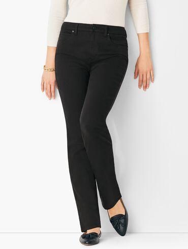 High-Waist Straight-Leg Jeans - Black
