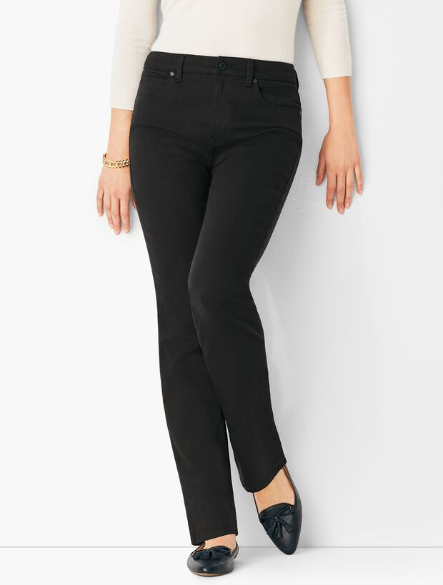High-Waist Straight-Leg Jeans - Black