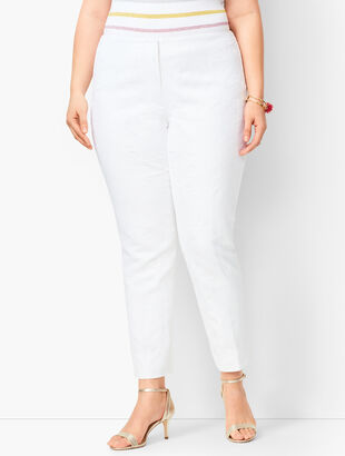 Plus Size Matelassé Tailored Ankle Pants
