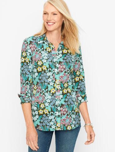 Mirrored Garden Cotton Button Front Shirt