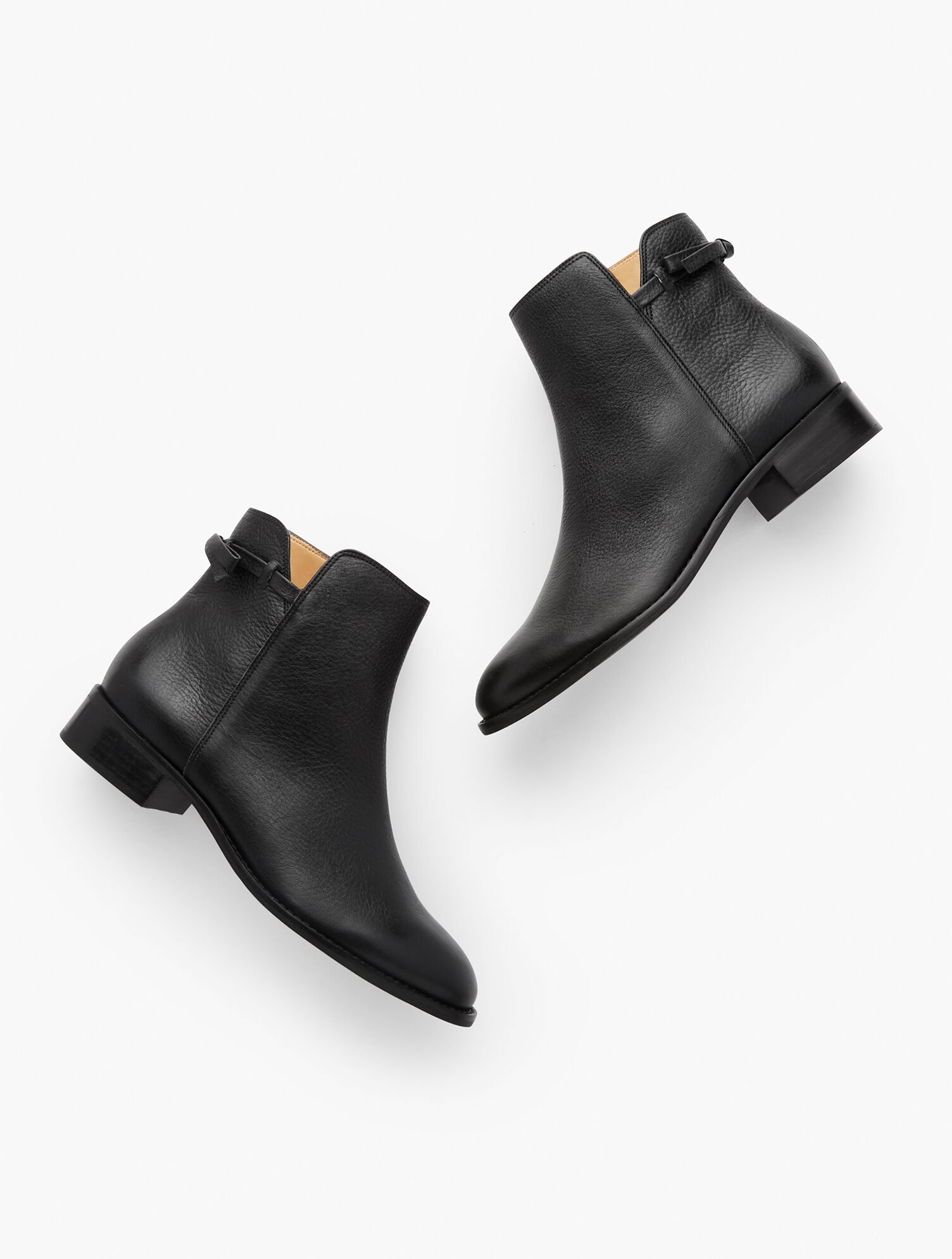 Tish Tie-Detail Ankle Boots - Pebbled