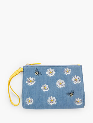 Embroidered Daisy And Bee Wristlet