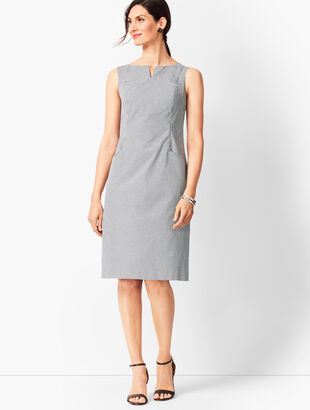Tailored Gingham Sheath Dress
