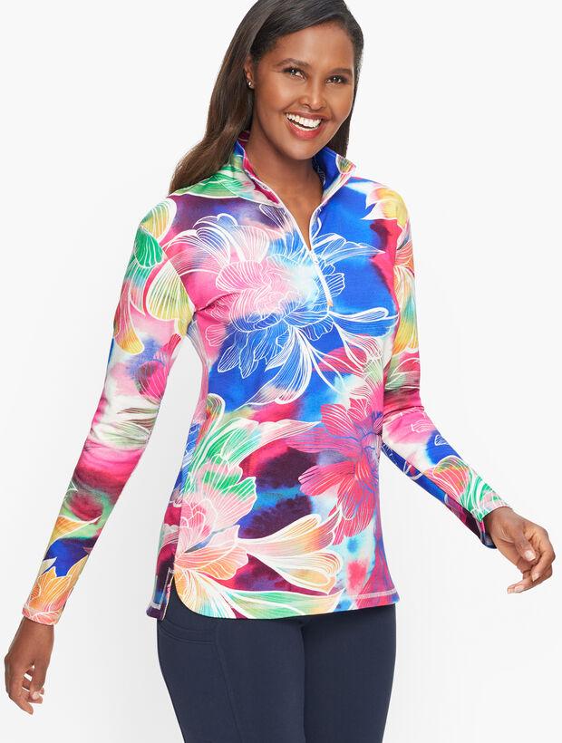 Watercolor Floral Half Zip Pullover
