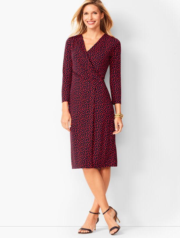 Faux-Wrap Jersey Sheath Dress