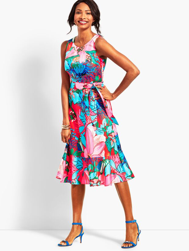046708d430 Tropical Floral Fit-And-Flare Dress   Talbots