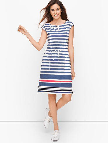 Anchor Stripe Drawstring Waist Dress