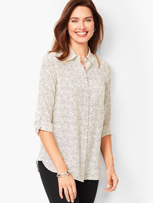 Washable-Silk Button-Down Shirt - Dab Dot