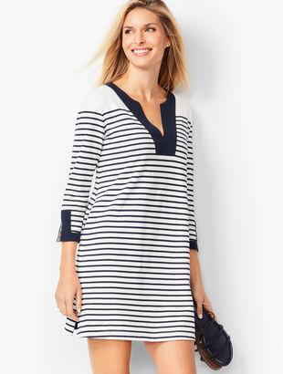 Stripe Cotton Piqué Split-Neck Tunic