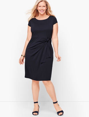 Faux-Wrap Jersey Shift Dress