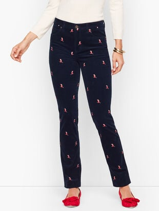 Stretch Corduroy Straight Leg Pants - Santa Print