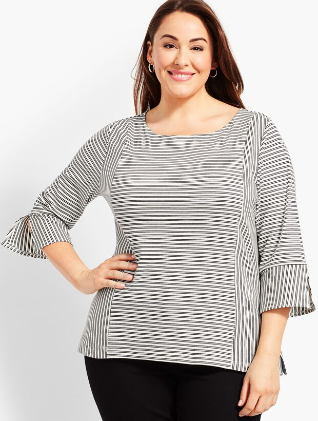 Woman Exclusive Flare-Cuff Top - Hanover Stripe