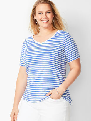 Cotton V-Neck Tee - Stripe