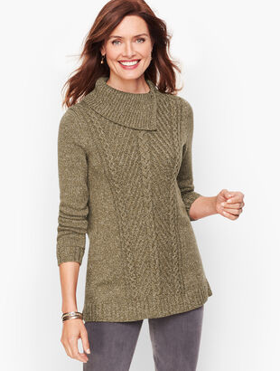Split Cowlneck Cable Sweater - Marled